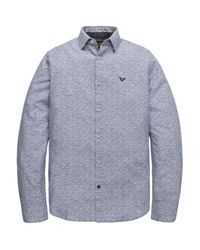 PME LEGEND Long Sleeve Shirt Melange Print True Navy in het Blue voor heren