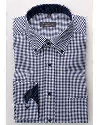 Eterna Heren Overhemd Geruit Poplin Button-down Non Iron Comfort Fit in het Blue voor heren