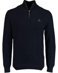 Gant Pullover Met Rits Donkerblauw in het Blue voor heren