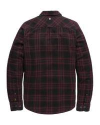 PME LEGEND Psi196212 4092 Long Sleeve Shirt Check Winetasting in het Red voor heren