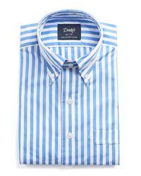 Drake's - Blue Button-down Bold Stripe Shirt for Men - Lyst