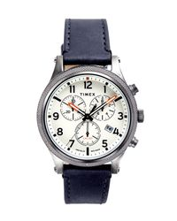 Timex Natural Timex Allied Lt Chrono Black Leather White Dial 42mm for men