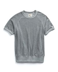 Todd Snyder Gray Short Sleeve Piped Terry Cloth Sweatshirt for men