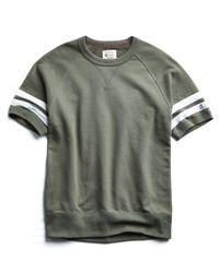 Todd Snyder Green Double Stripe Short Sleeve Sweatshirt In Olive Grove for men
