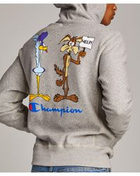 Todd Snyder Gray Champion + Looney Tunes Roadrunner And Wile E Coyote Hoodie for men