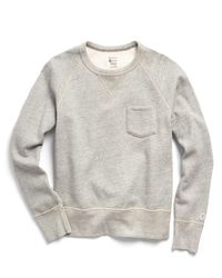 Todd Snyder Gray Classic Pocket Sweatshirt In Chrome for men