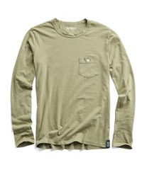 Todd Snyder Green Made In L.a. Slub Jersey Long Sleeve T-shirt In Cactus for men