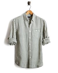 Todd Snyder Button Down Linen Shirt In Green And Cream Check for men