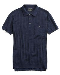 Todd Snyder Blue Cotton Silk Ribbed Knit Polo for men