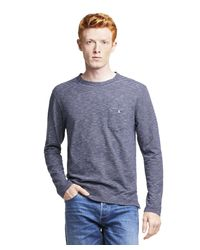 Todd Snyder Blue Long Sleeve Striped T-shirt In Navy for men