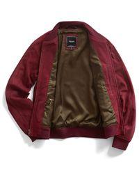 Todd Snyder Red Suede Varsity Jacket  for men