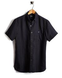 Todd Snyder - Short Sleeve Linen Shirt In Black for Men - Lyst