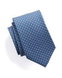 Drake's - Silk Foulard Dot Tie In Blue for Men - Lyst
