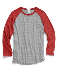 Todd Snyder - Red Baseball T-Shirt In Antique Grey Mix for Men - Lyst