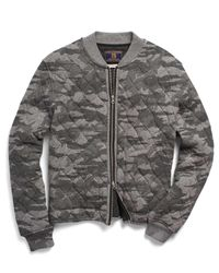 Todd Snyder Gray Quilted Bomber In Camo for men
