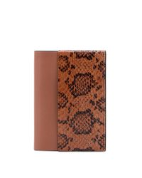Tod's - Brown Leather And Reptile Passport Holder - Lyst