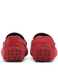 Tod's - Red Gommino For Ferrari In Nubuck for Men - Lyst