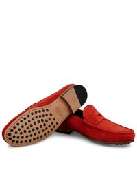 Tod's | Orange Loafers In Suede for Men | Lyst