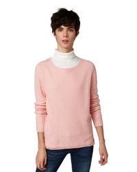 Tom Tailor Pink DENIM Pullover mit Strukturmuster