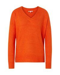 Tom Tailor Orange DENIM Cosy Pullover mit V-Ausschnitt