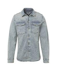 Tom Tailor DENIM Gestreiftes Jeanshemd in Blue für Herren