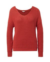 Tom Tailor Orange Pullover mit Rippstruktur