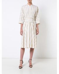 TOME - White Dolman Sleeve Front Tie Dress - Lyst