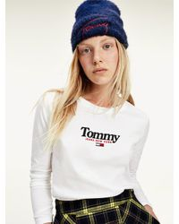 Tommy Hilfiger Essential T-shirt Met Lange Mouwen in het White