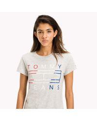 Tommy Hilfiger Gray Cotton Slub Logo T-shirt