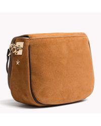 Tommy Hilfiger Brown Scarf Strap Saddle Bag
