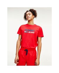 Tommy Hilfiger Red Organic Cotton Logo T-shirt for men