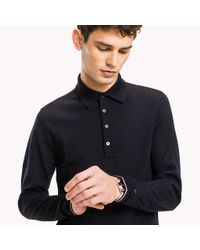 Tommy Hilfiger Blue Long Sleeve Knitted Wool Polo for men