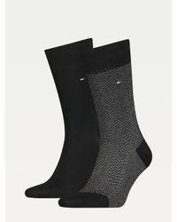 Tommy Hilfiger Set Van 2 Paar Sokken Met Visgraatmotief in het Black voor heren