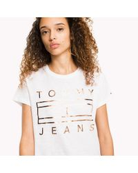 Tommy Hilfiger White Cotton Slub Logo T-shirt
