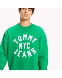 Tommy Hilfiger Green Graphic Relaxed Fit Sweatshirt for men