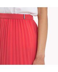 Tommy Hilfiger Red Pleated Chiffon Skirt