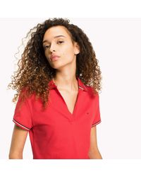 Tommy Hilfiger Red Organic Cotton Stretch Polo