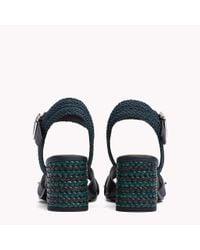 Tommy Hilfiger Blue Braided Leather Heel Sandals