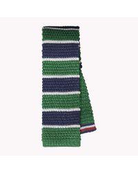 Tommy Hilfiger Green Flat Tip Silk Tie for men