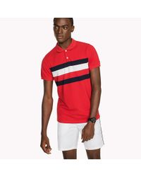 Tommy Hilfiger Red Chest Stripe Slim Fit Polo Shirt for men