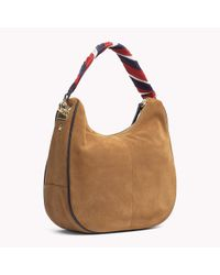 Tommy Hilfiger Brown Iconic Foulard Leather Hobo Bag Suede Cognac