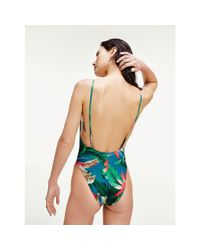 Tommy Hilfiger Green Tropical Palm Print One-piece Swimsuit