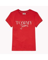 Tommy Hilfiger Red Organic Cotton Script Logo T-shirt