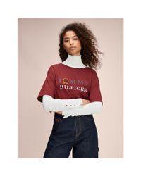 Tommy Hilfiger Red Crest Print Boyfriend T-shirt