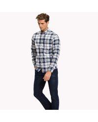 Tommy Hilfiger Blue Oxford Cotton Check Regular Fit Shirt for men