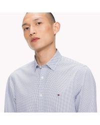 Tommy Hilfiger Blue Slim Fit Micro Print Shirt for men