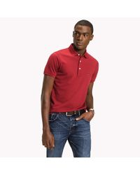 Tommy Hilfiger Red Cotton Slim Fit Polo Shirt for men
