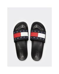 Tommy Hilfiger Black Flag Logo Pool Slides for men