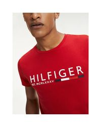 Tommy Hilfiger Red Rubberised Logo Organic Cotton T-shirt for men