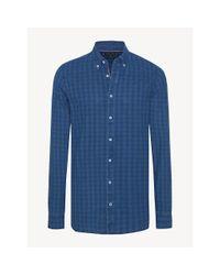 Tommy Hilfiger Slim Fit Overhemd Met Ton-sur-ton Ruitjes in het Blue voor heren